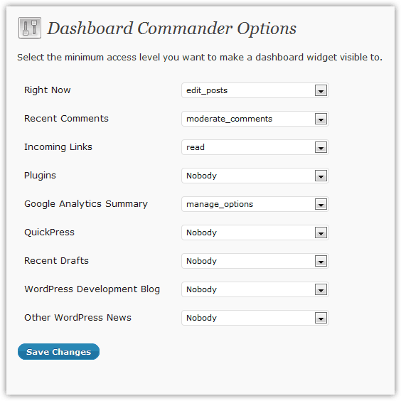 Dashboard Commander Options